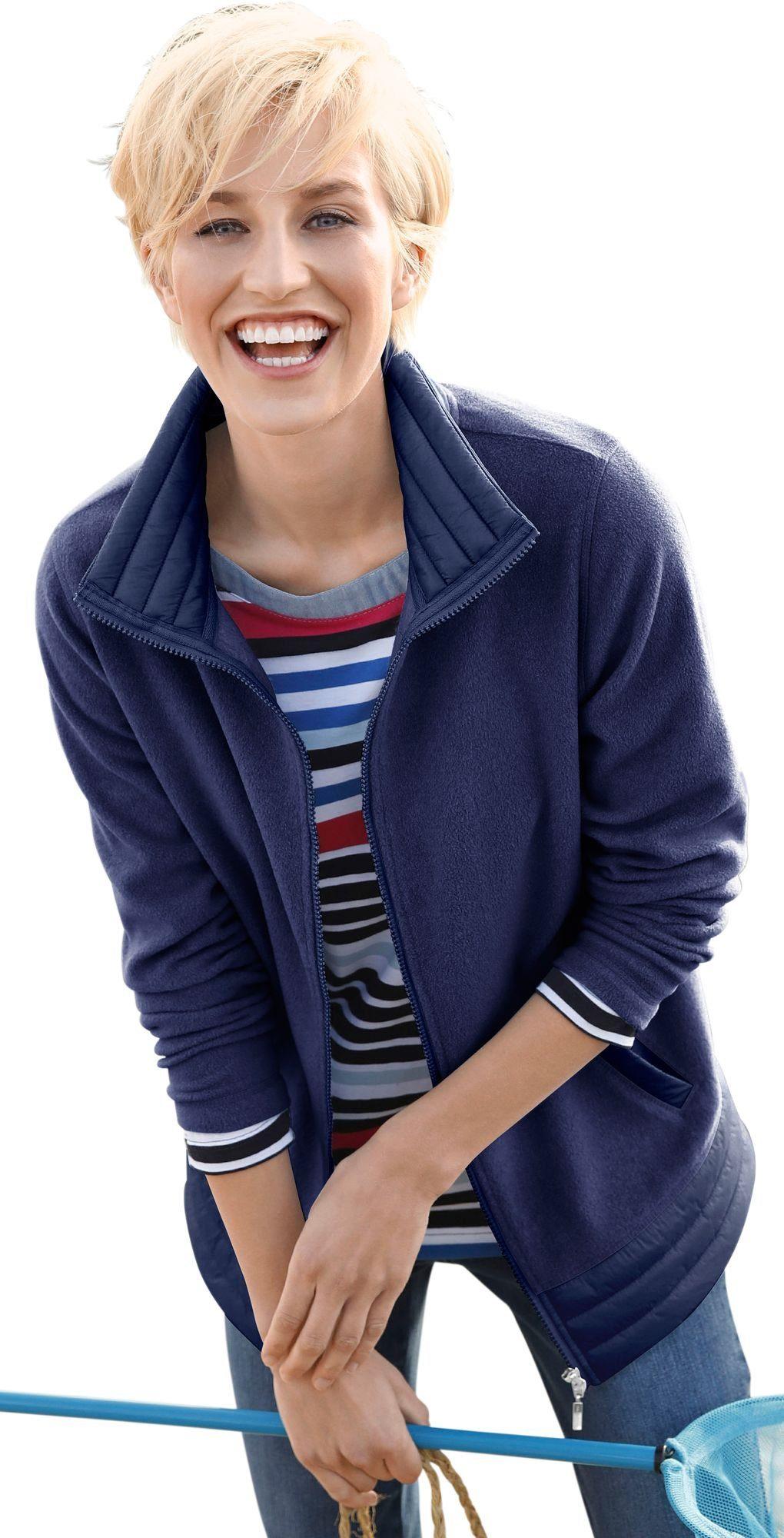 Casual Looks Fleece-Jacke mit Umlegekragen