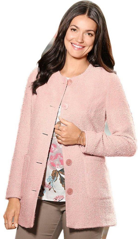 Damen Classic Basics Longblazer mit Bouclé-Struktur rosa | 04713302581219