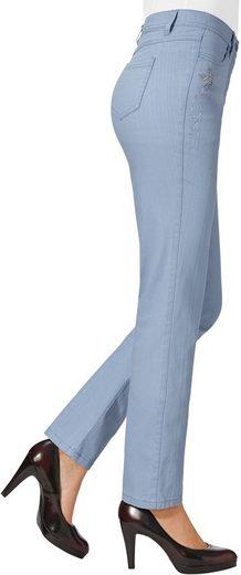 Lady Jeans mit kleine Vögelchen aus Glitzersteinchen