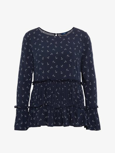 Tom Tailor Shirt Blouse Blouse With Anchor And Ruffles