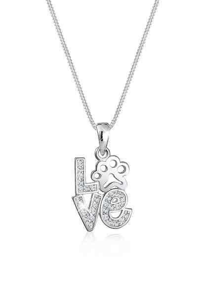 Elli Halskette »Love Schriftzug Pfote Swarovski® Kristalle Silber«