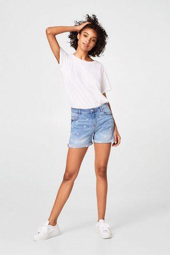 EDC BY ESPRIT Jeans-Shorts mit Blümchen-Stickerei
