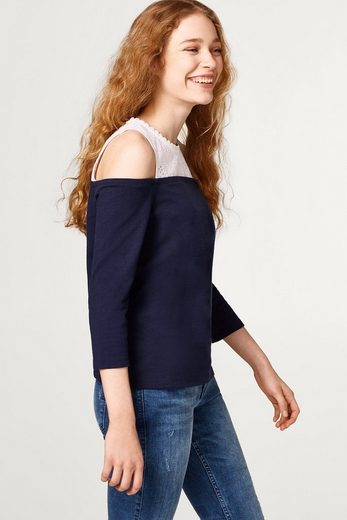 EDC BY ESPRIT Off-Shoulder-Shirt im Material-Mix