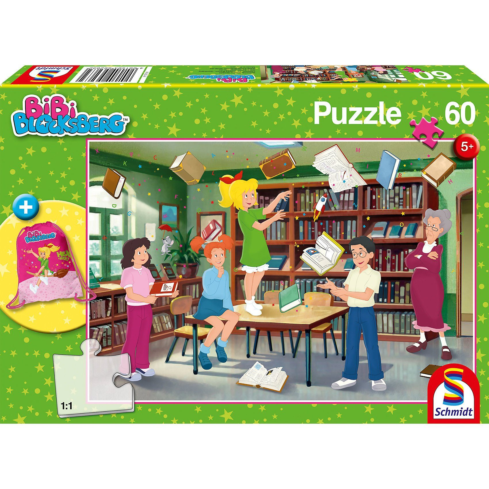 Schmidt Spiele Puzzle 60 Teile Bibi Blocksberg mit Turnbeutel