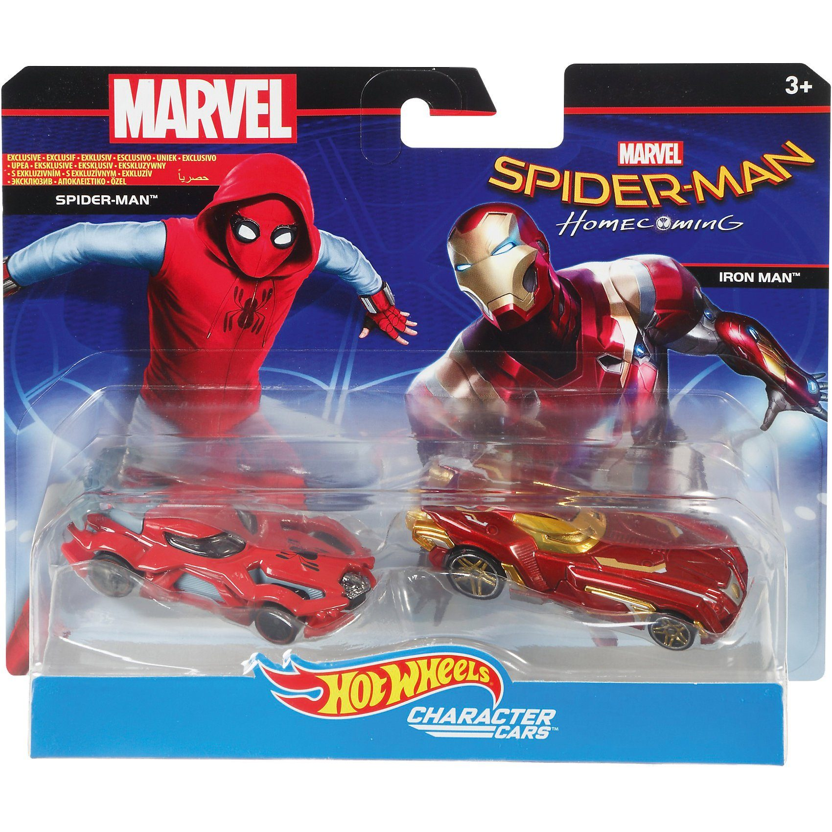 Mattel® Hot Wheels Marvel Character Car Spiderman und Iron Man 2er-P
