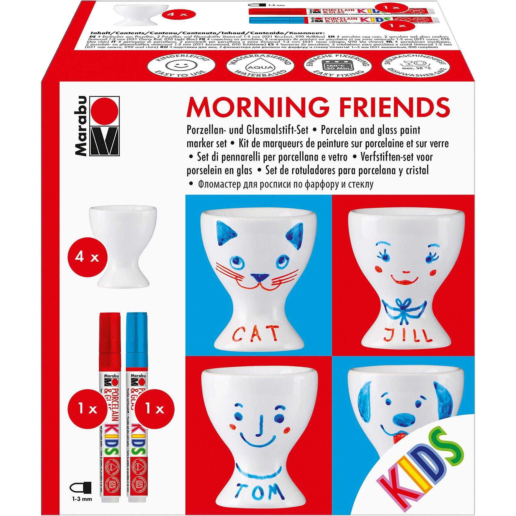 Marabu KIDS Porzellan- & Glasfarben-Set Morning friends, 4 Eierbech