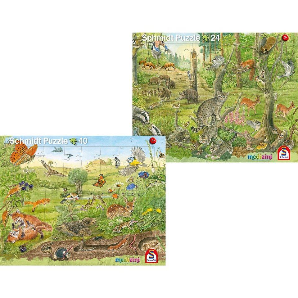 Schmidt Spiele 2er Set Rahmenpuzzles 24 Teile/40 Teile Wald und ...