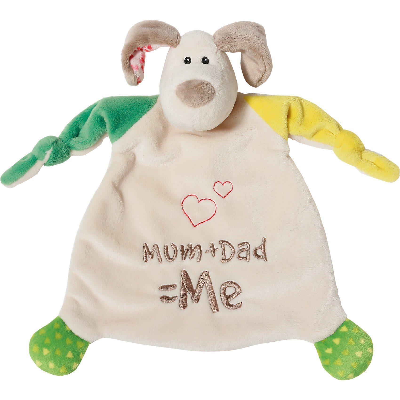 """NICI Schmusetuch Hund """"Mum+Dad=Me"""" 25x25cm"""