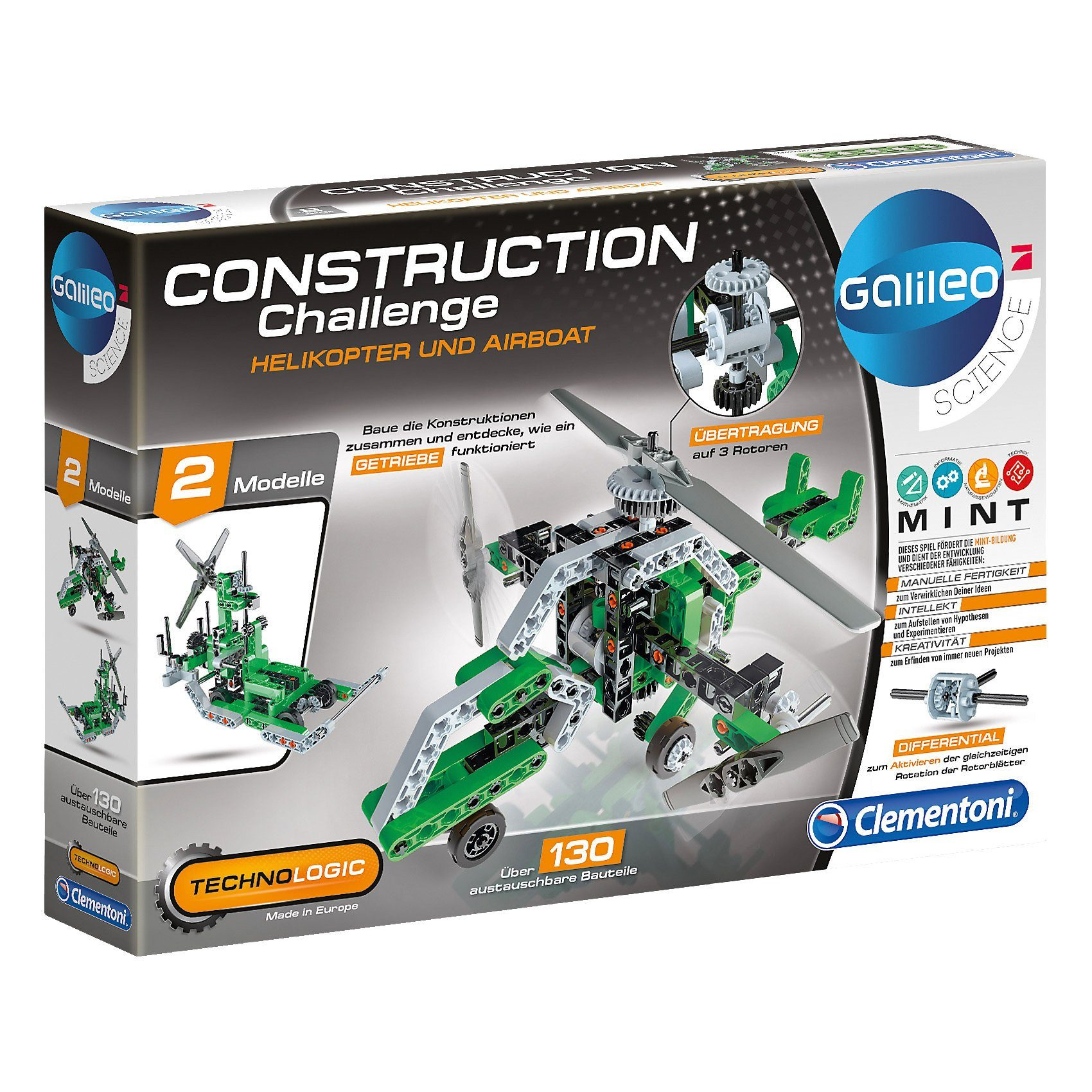 Clementoni® Galileo - Construction Challenge - Helikopter und Airboat