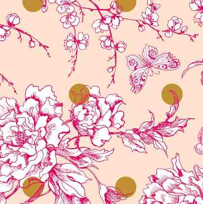 """Baumwoll-Stoff """" Kirschblüten Punkte"""" 140 cm breit (Meterware)"""