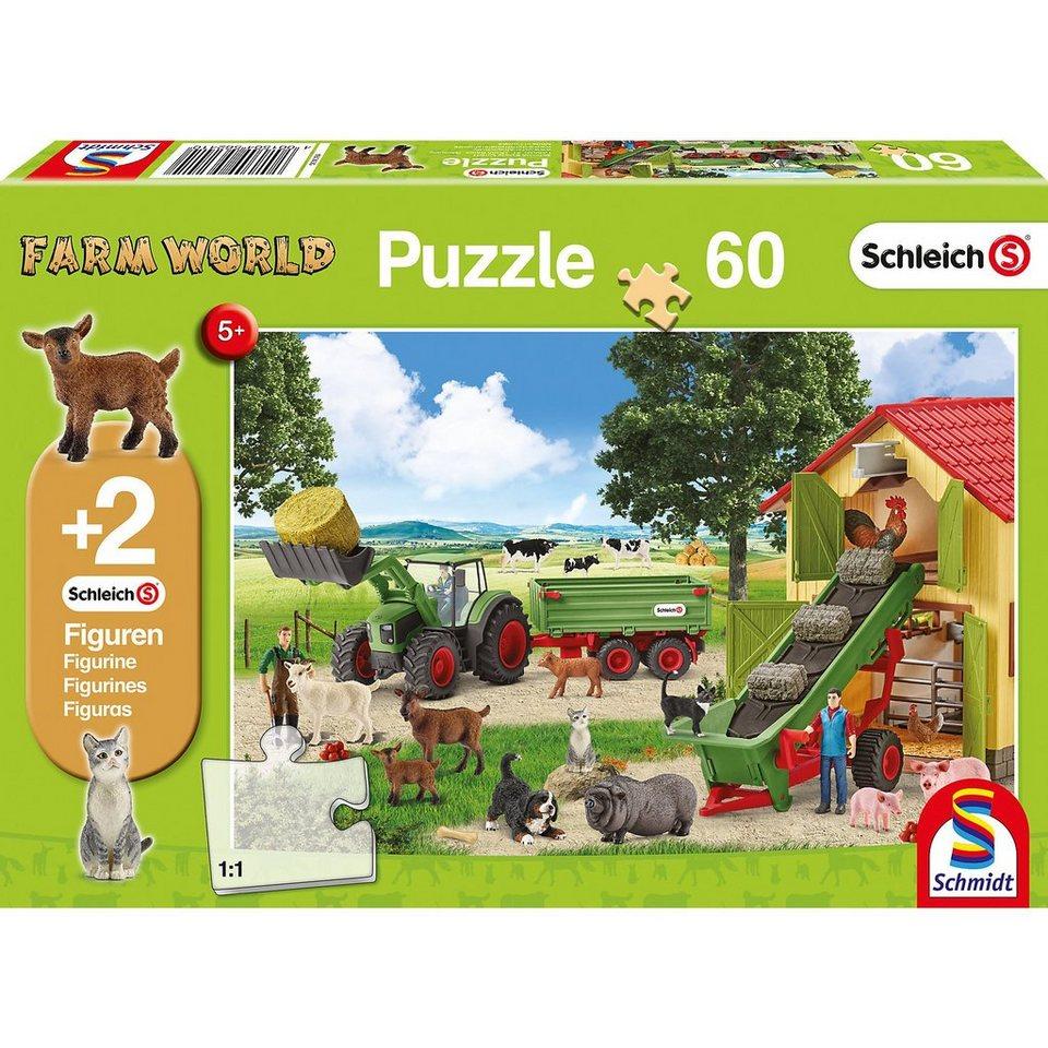 Schmidt Spiele Puzzle 60 Teile Heueinfahrt auf dem Bauernhof + 2 Schleich®- online kaufen