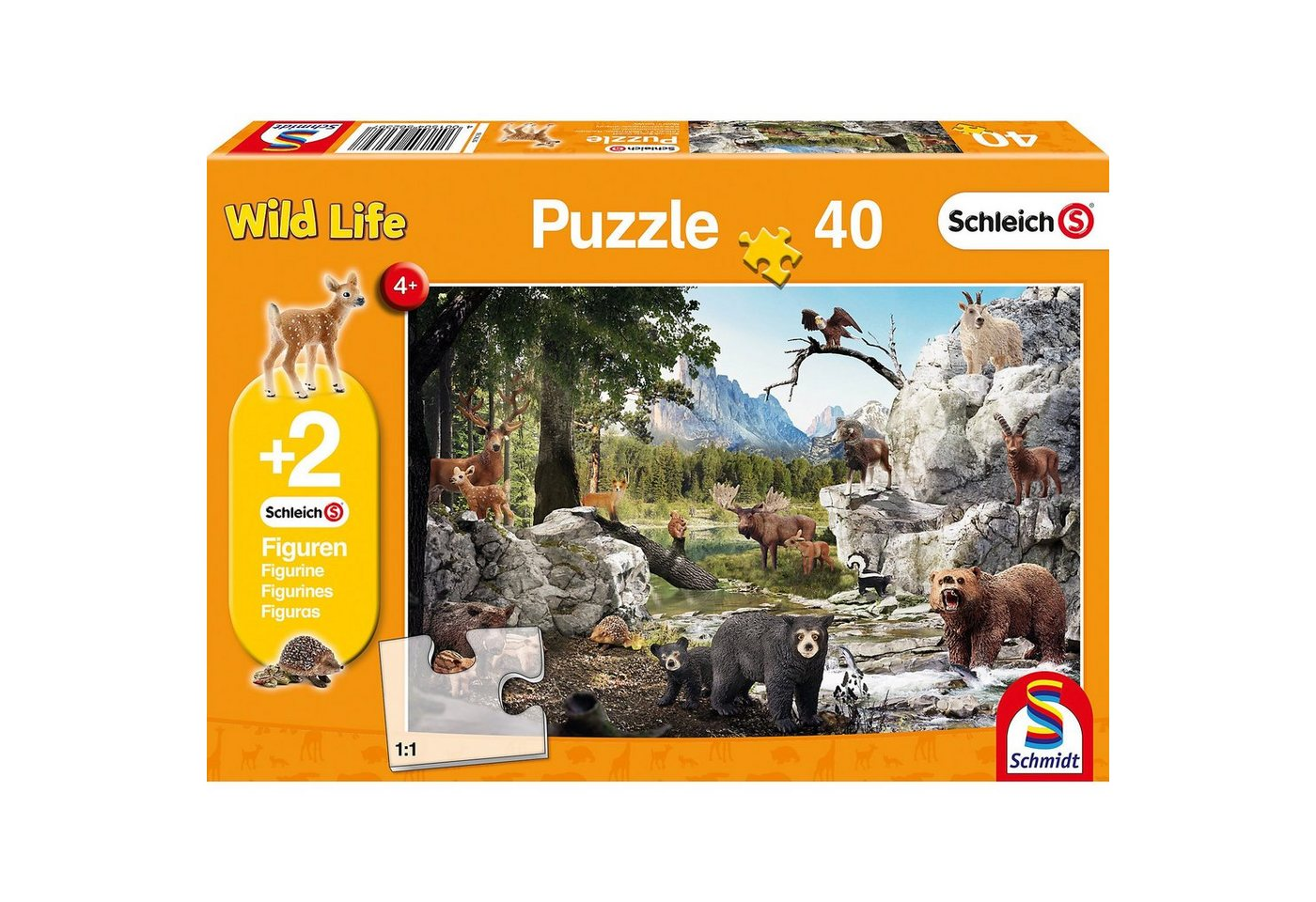 Schmidt Spiele Puzzle 100 Teile Die Tiere des Waldes + 2 Schleich®-Figuren