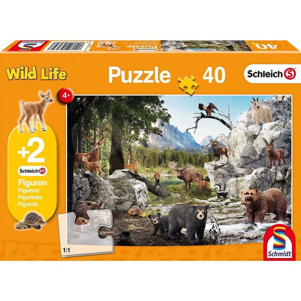 Schmidt Spiele Puzzle 100 Teile Die Tiere des Waldes + 2 Schleich®-Figuren online kaufen