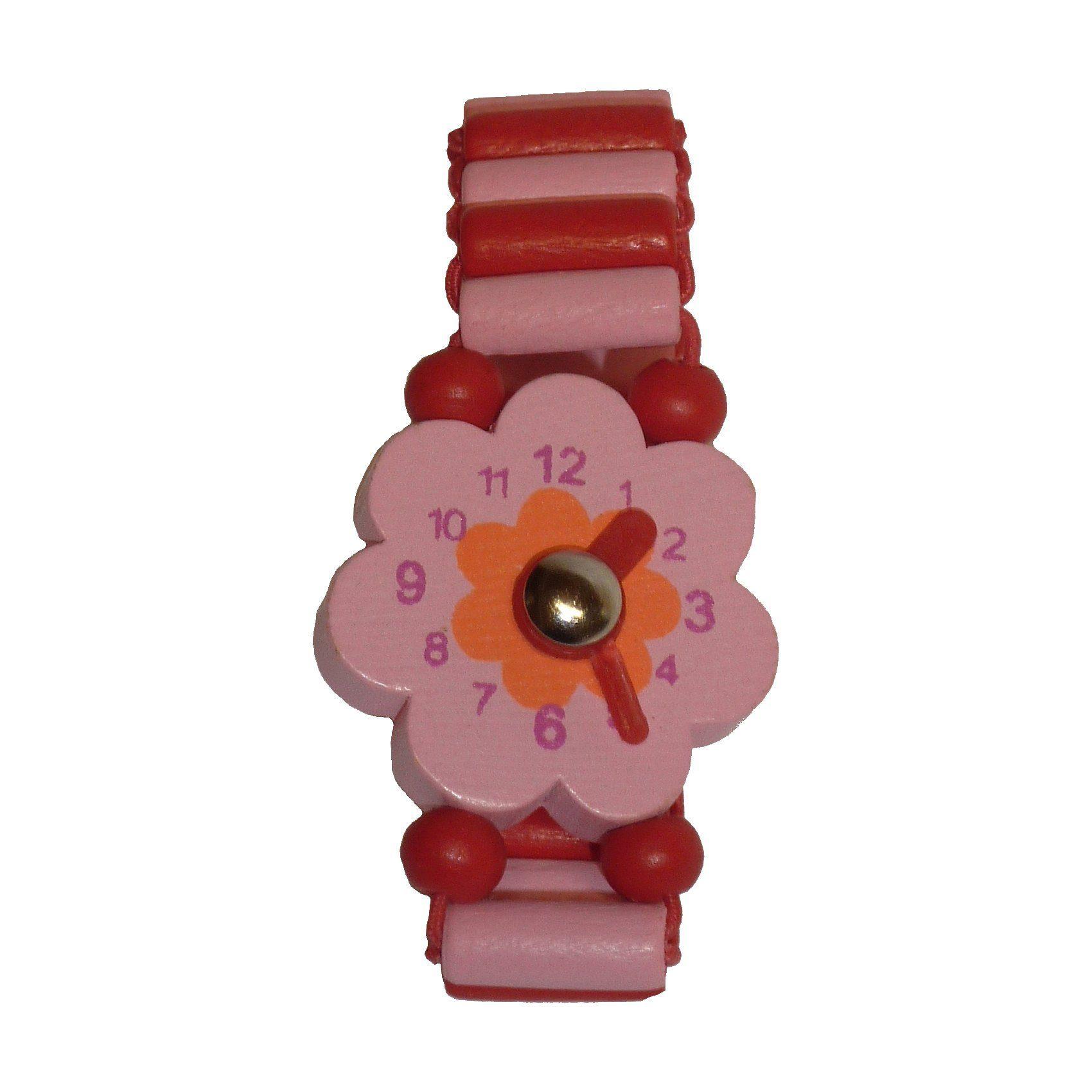 Spielzeug-Uhr aus Holz - Blume, 4 Stück