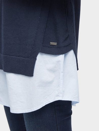 Tom Tailor Rundhalspullover Pullover mit Underlayer