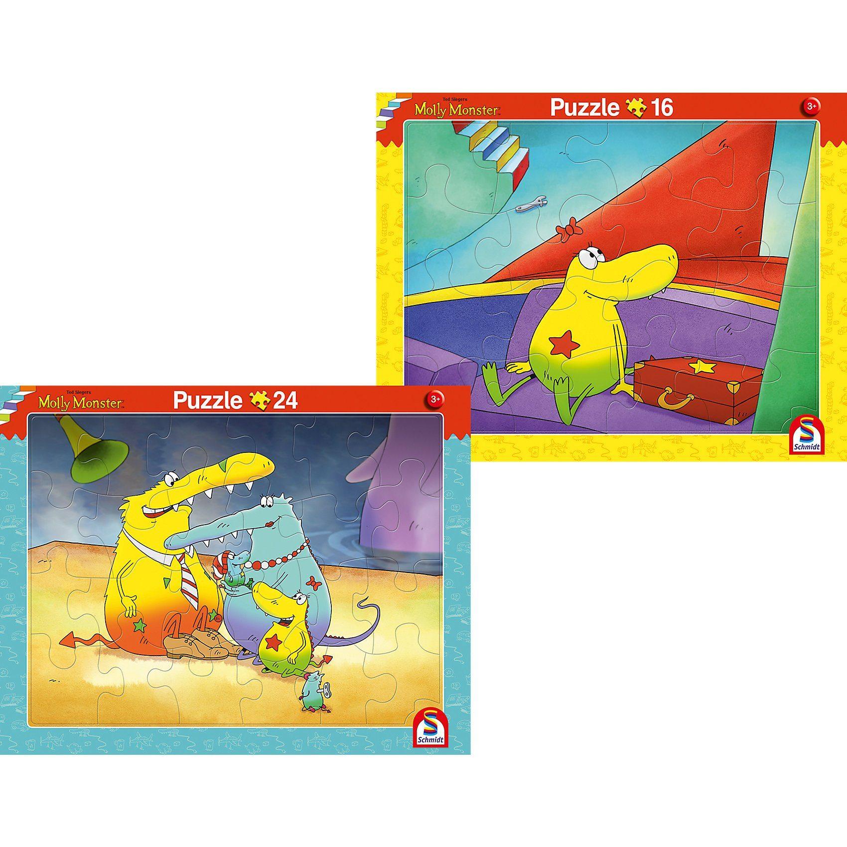 Schmidt Spiele 2er Set Rahmenpuzzle 16 Teile/24 Teile Molly Monster