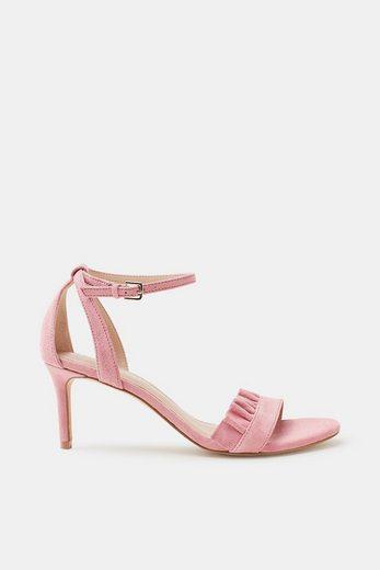 ESPRIT Sandalette mit gerüschtem Riemen, aus Veloursleder
