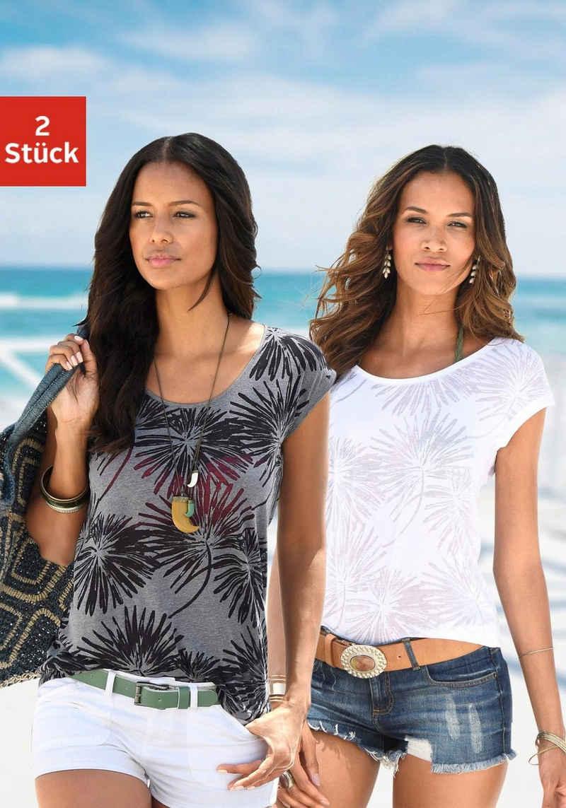 Beachtime T-Shirt (2er-Pack) Ausbrenner-Qualität mit leicht transparenten Palmen