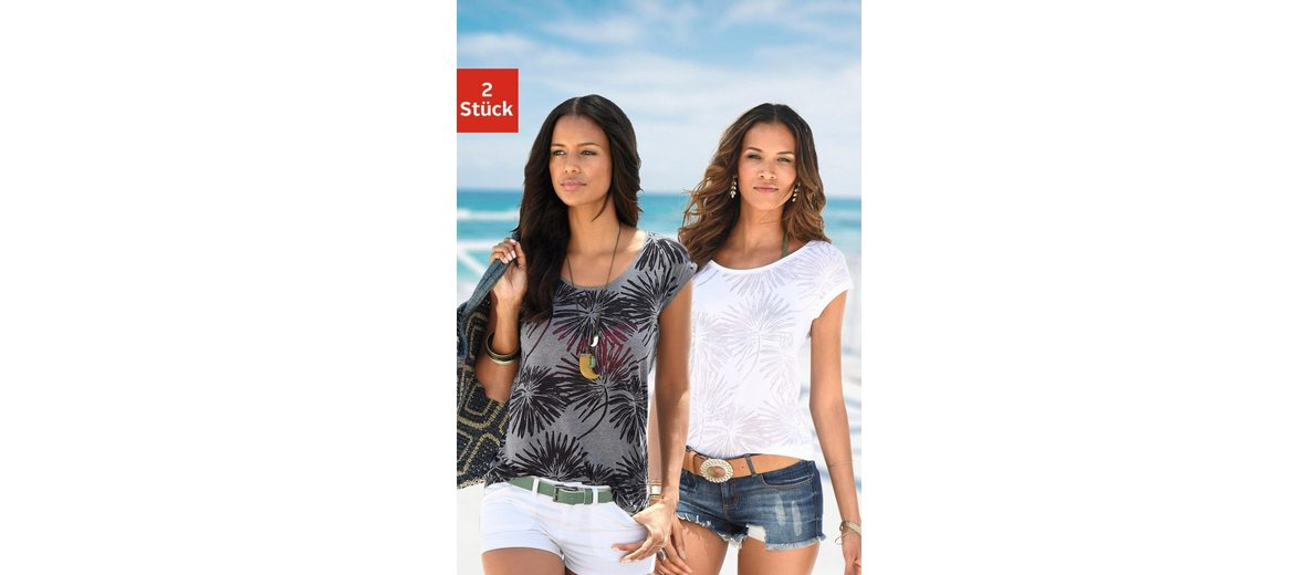 Beachtime T-Shirts (2 St眉ck) in Palmen-Ausbrenner-Optik