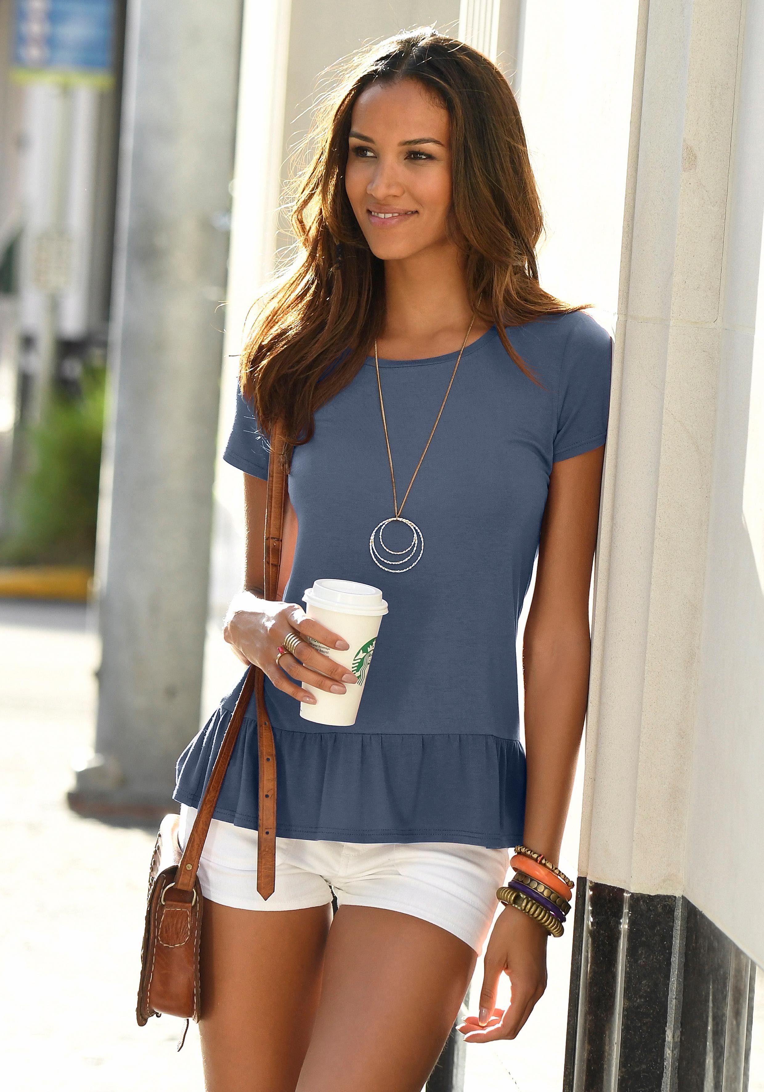 Damen LASCANA T-Shirt mit Volantsaum blau | 06093695654027, 06093717187687