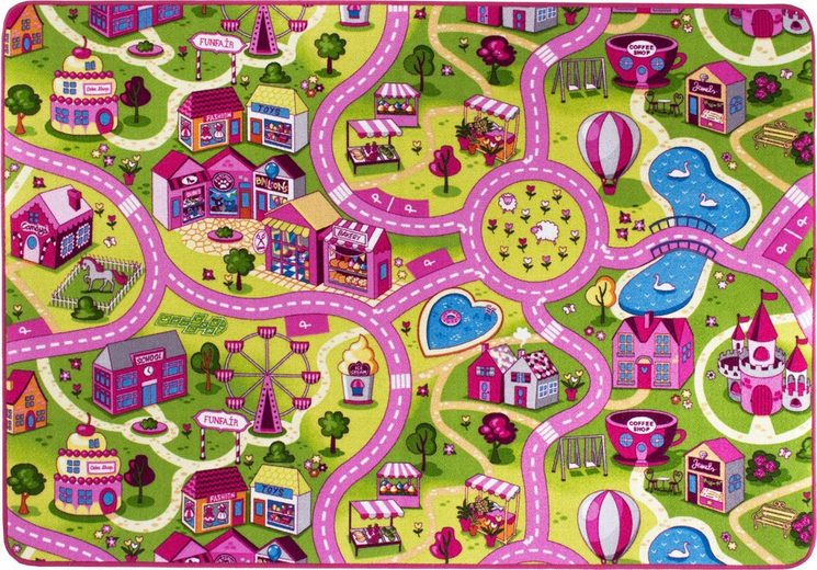 Kinderteppich »Sweet Village«, Andiamo, rechteckig, Höhe 7 mm, Straßenteppich, strapazierfähig, wärmedurchlässig, Straßenbreite: 6,0 cm