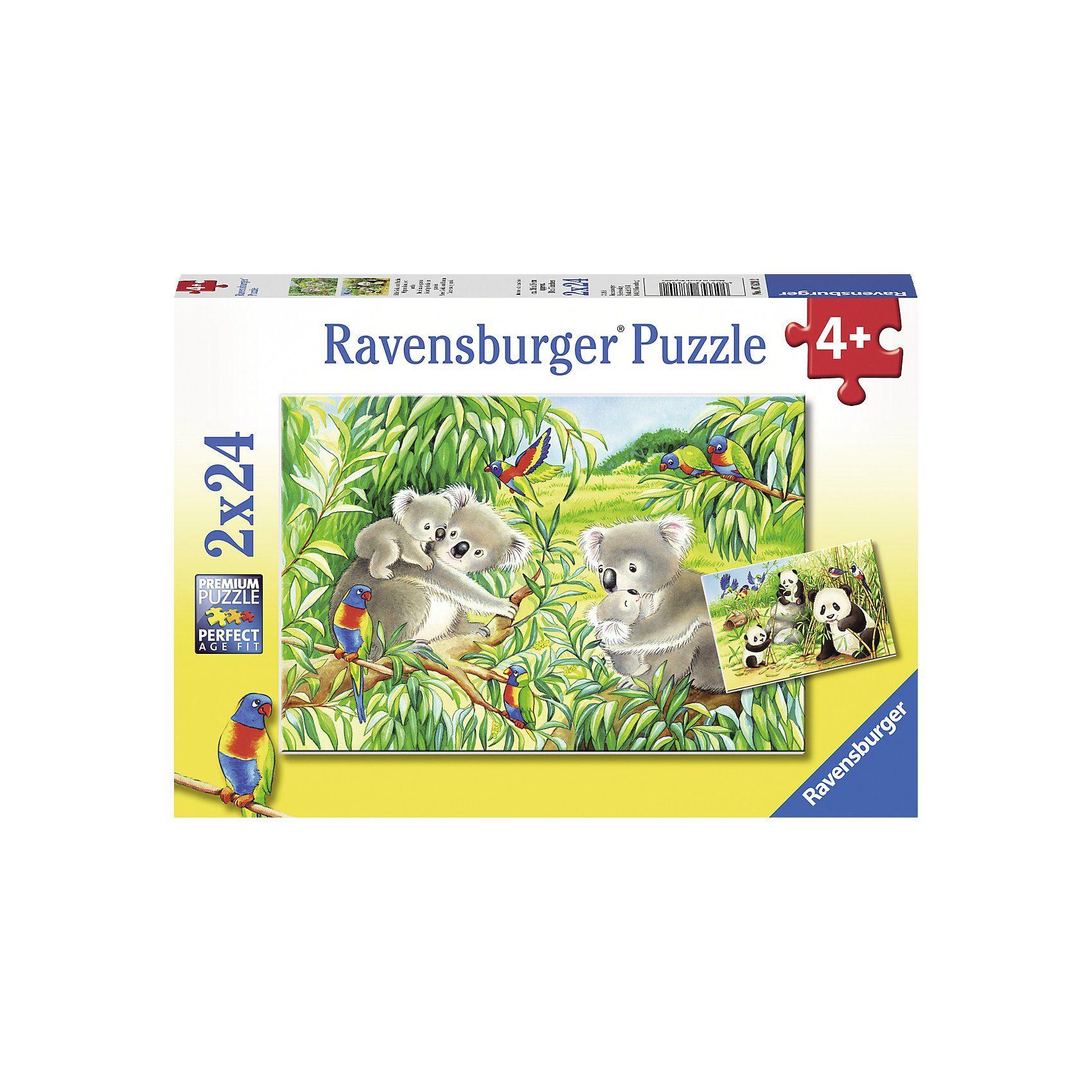 Ravensburger Puzzleset 2 x 24 Teile Süße Koalas und Pandas