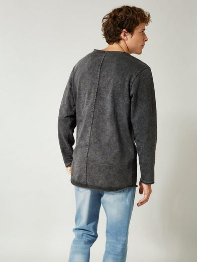 Men Plus by Happy Size Long-Sweatshirt acid wash