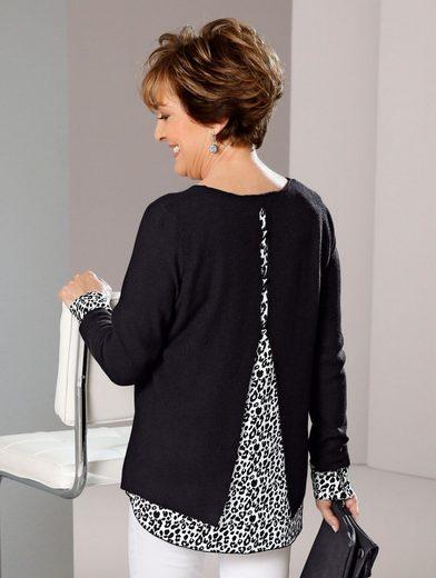 Paola 2-in-1 Pullover mit bedrucktem Blusenbesatz