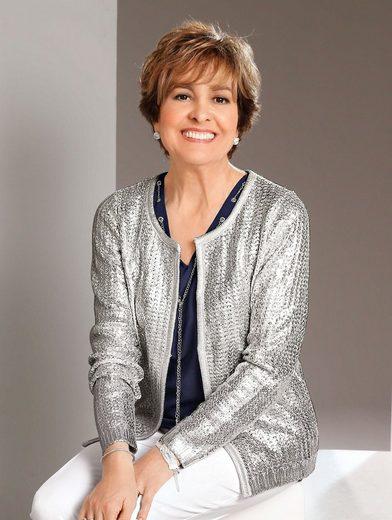 Paola Strickjacke mit metallisch glänzender Beschichtung