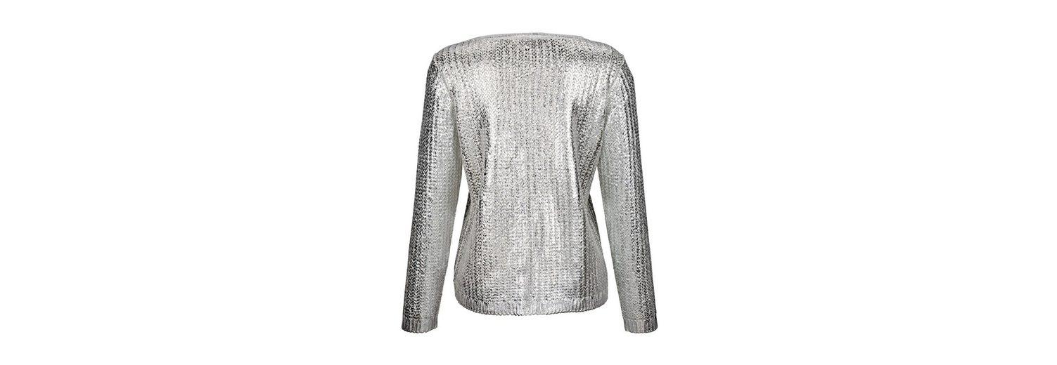 Neueste Online Paola Strickjacke mit metallisch glänzender Beschichtung Günstig Kaufen Best Pick Geniue Händler GBNsO