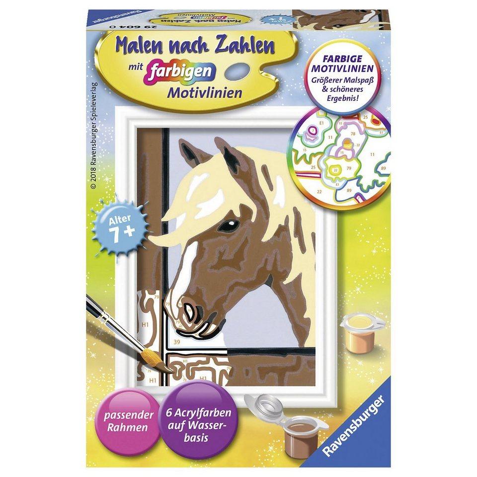 Ravensburger Malen nach Zahlen, 8,5x12 cm, mit farbige Motivlinien, Pferd online kaufen