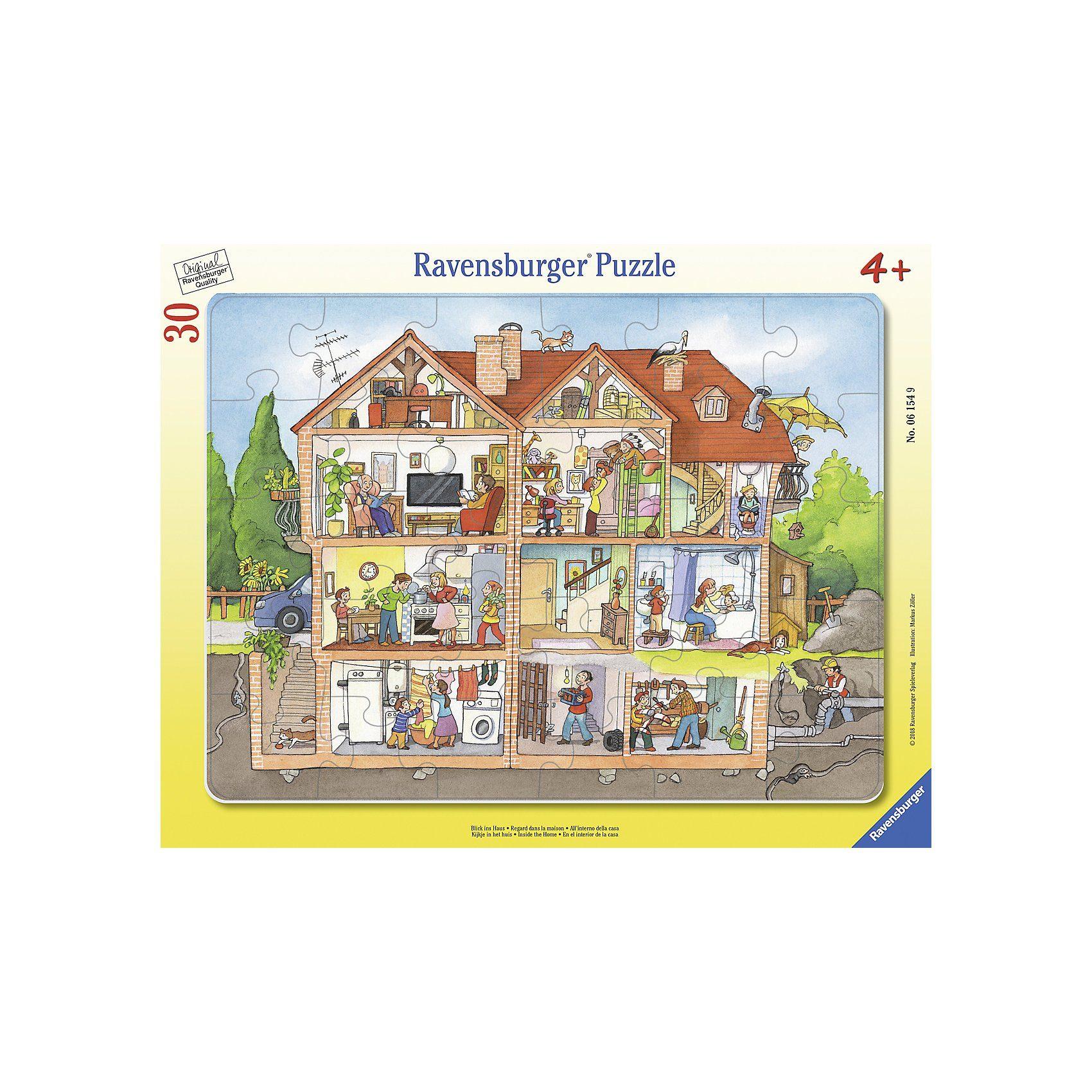 Ravensburger Rahmen-Puzzle, 30 Teile, 32,5x24,5 cm, Blick ins Haus