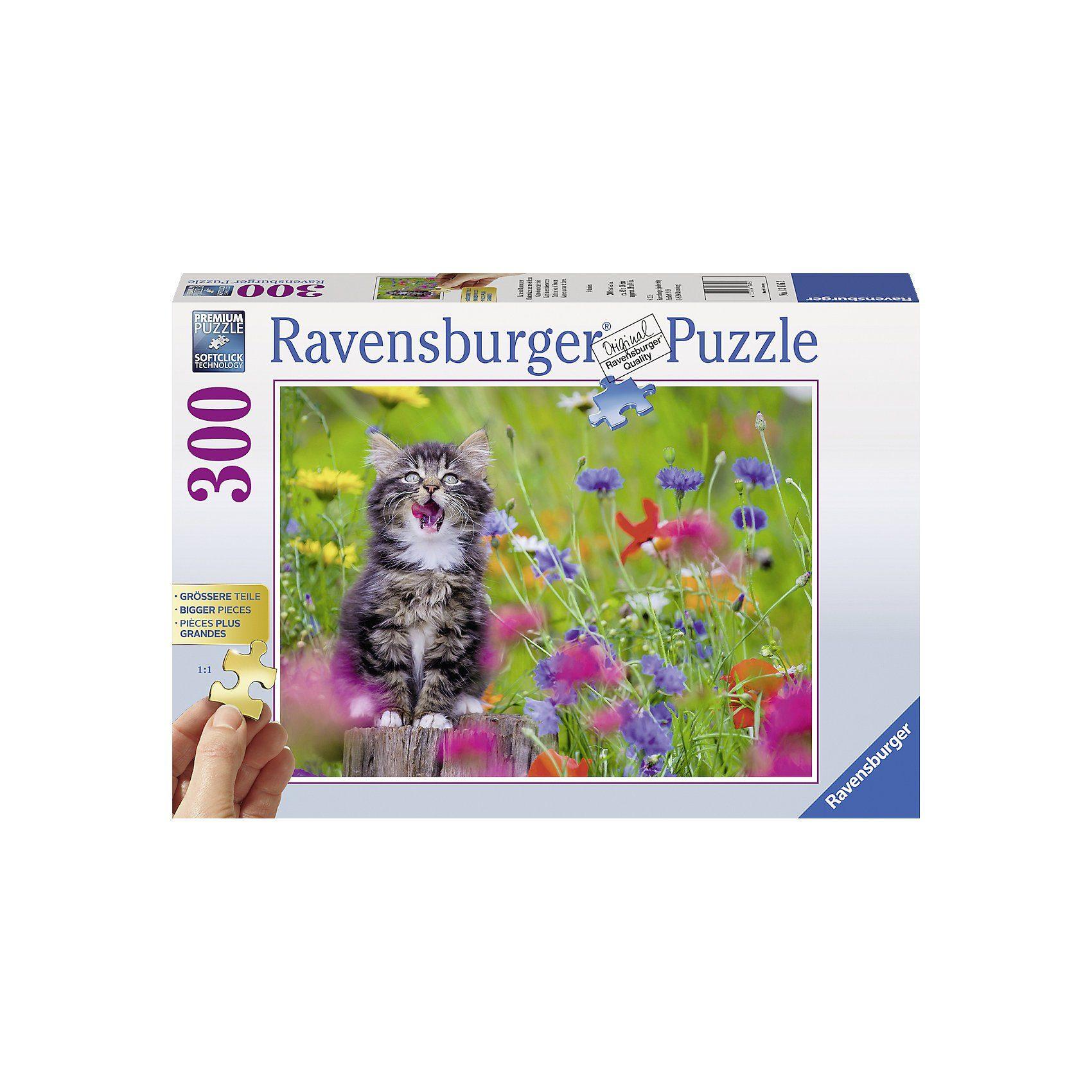 Ravensburger Puzzle 300 Teile Katze im Blumenmeer