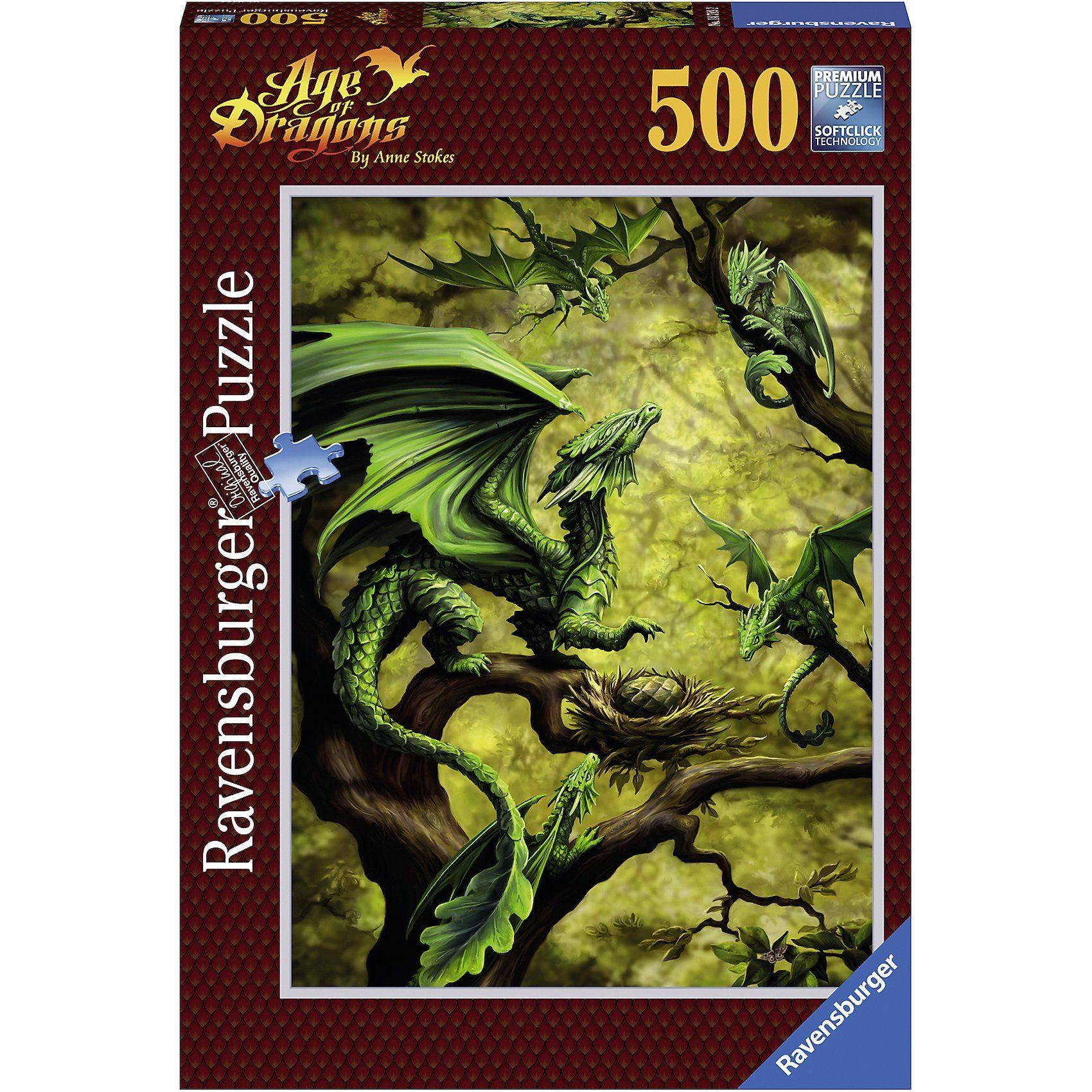 Ravensburger Puzzle 500 Teile, 49x36 cm, Anne Stokes Walddrache