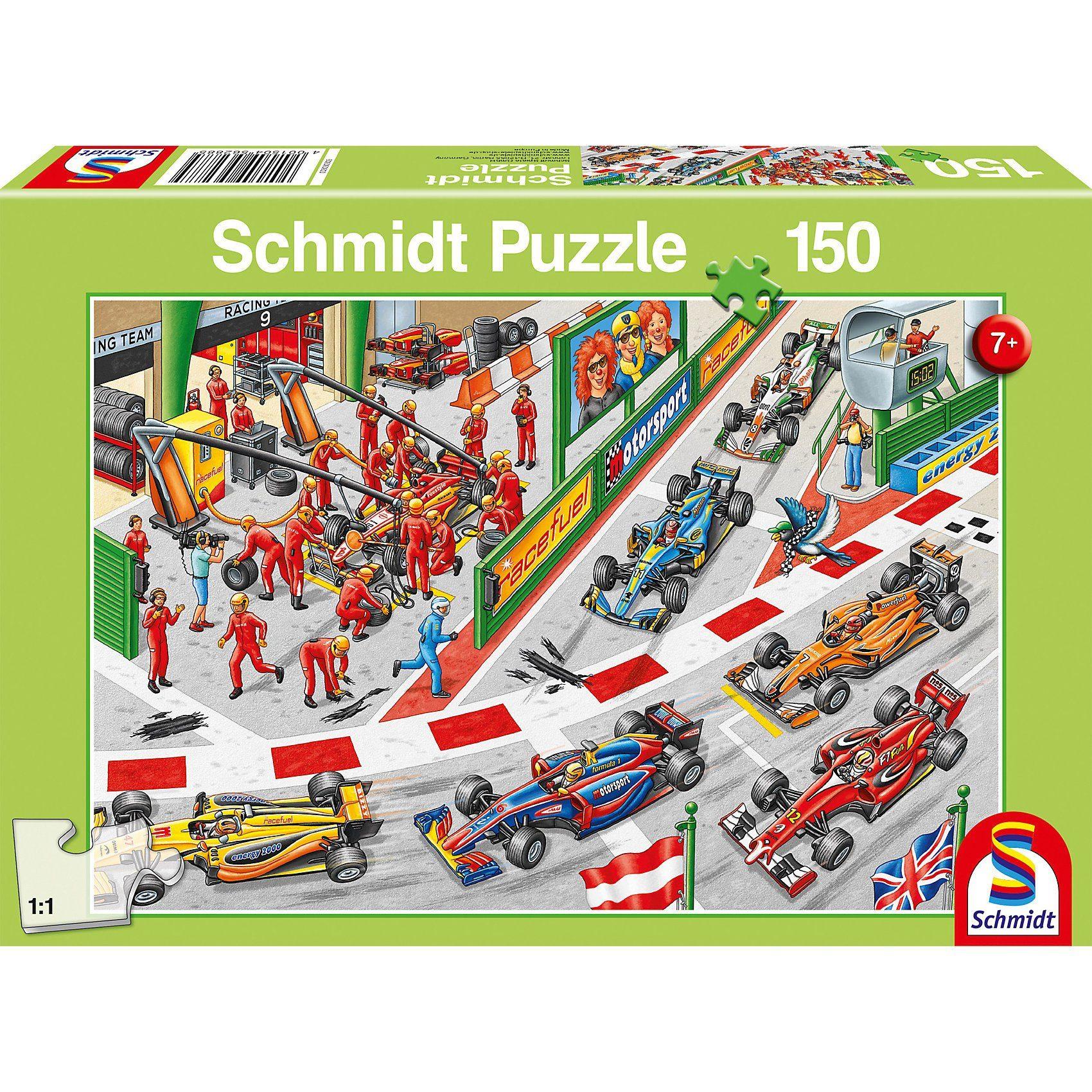 Schmidt Spiele Puzzle 150 Teile Was passiert beim Autorennen?