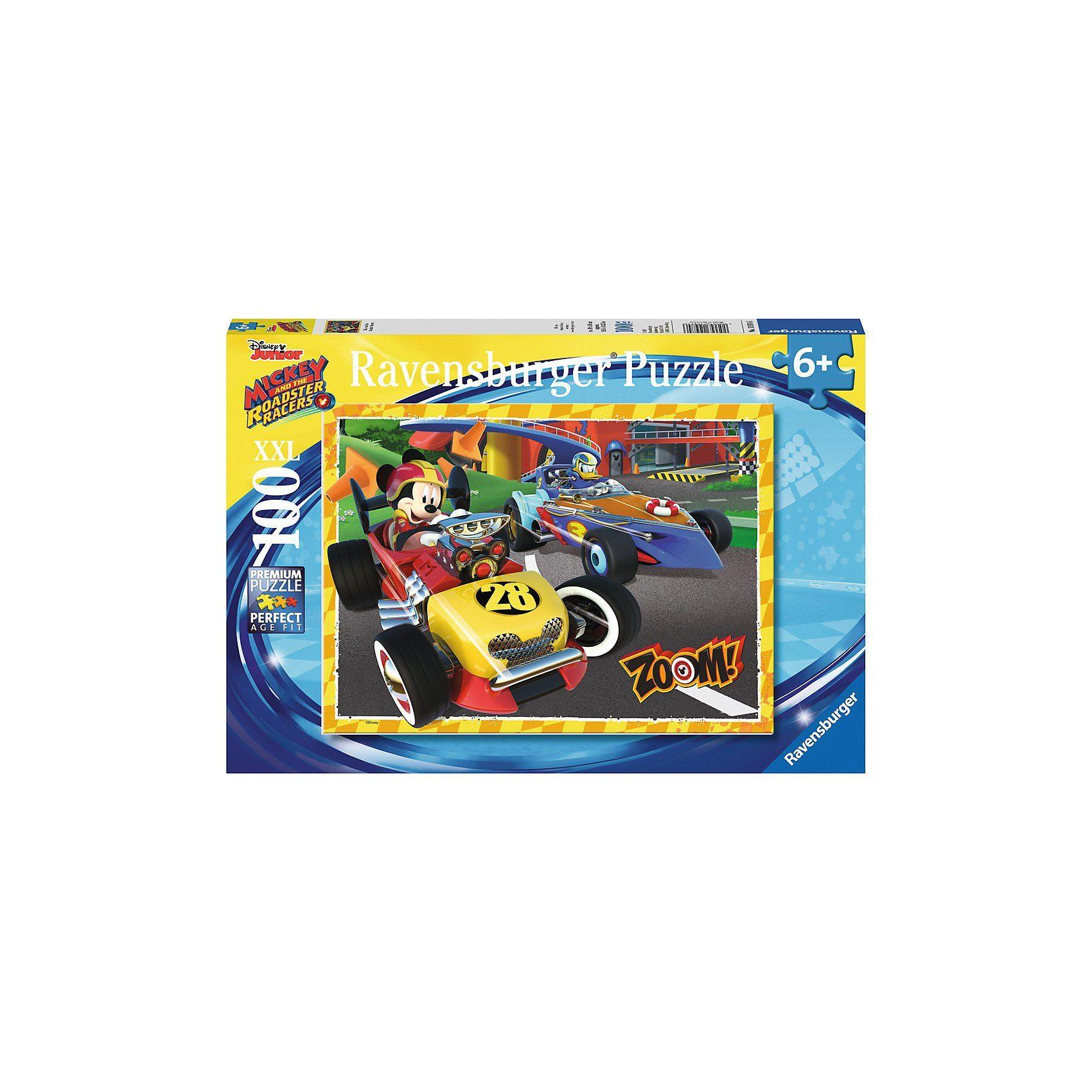 Ravensburger Puzzle 100 Teile XXL Mickey und die flinken Flitzer Go Micke