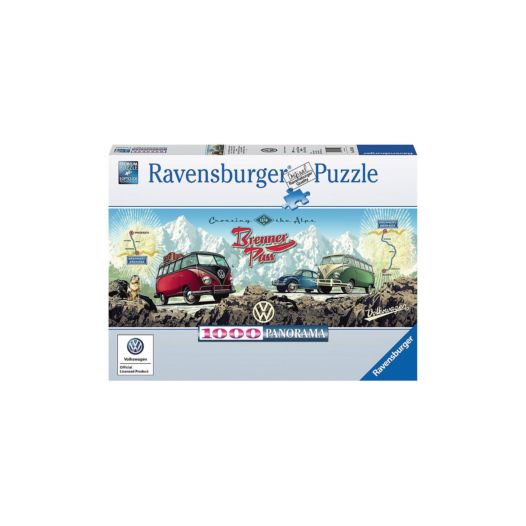 Ravensburger Puzzle 1000 Teile Mit dem VW Bulli über den Brenner