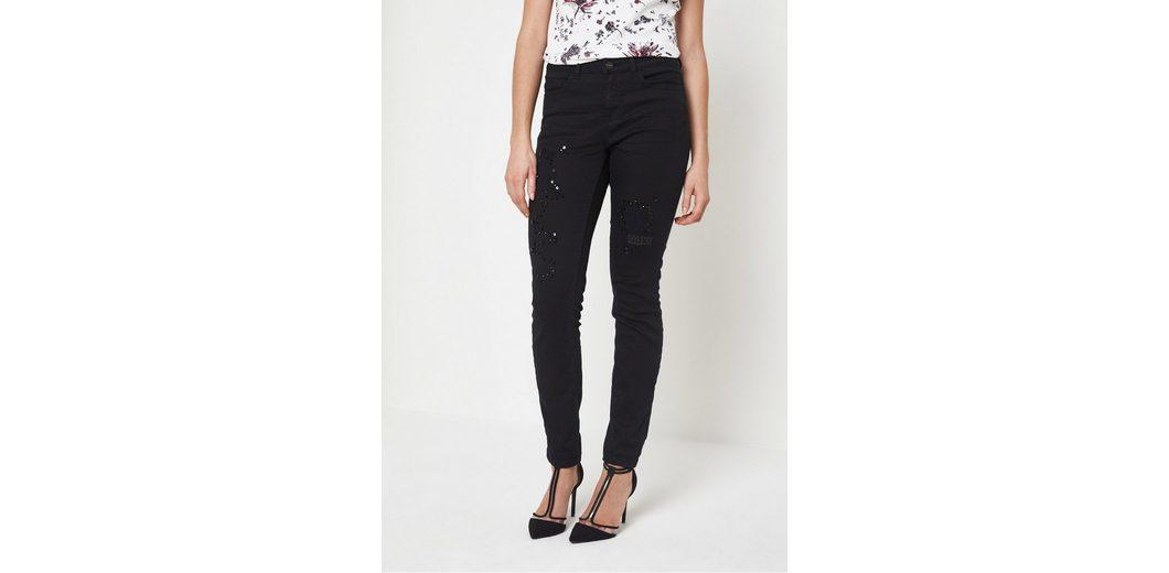 Exklusive Verkauf Online COMMA Black-Denim Jeans mit Schmucksteinverzierungen Freies Verschiffen Wiki Rabatt Empfehlen Billig Verkauf Perfekt fpDHH