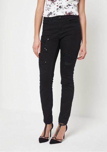 COMMA Black-Denim Jeans mit Schmucksteinverzierungen