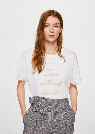 Mango T-shirt With Embroidered Inscription