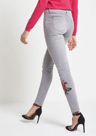 COMMA Hellgraue Skinny Jeans mit Floralstickerei