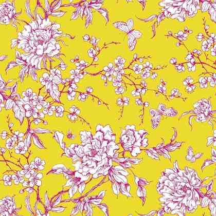 """Baumwoll-Stoff """"Kirschblüten Pink Gelb"""" 140 cm breit (Meterware)"""