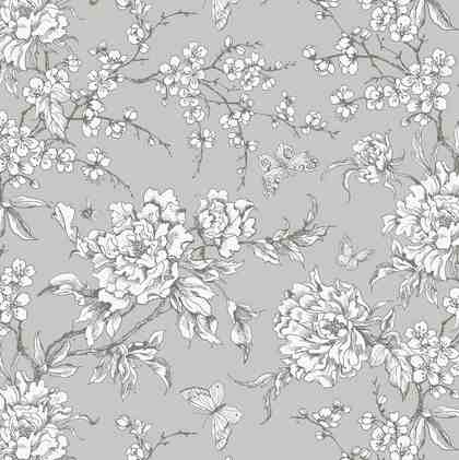 """Baumwoll-Stoff """"Kirschblüten Grau"""" 140 cm breit (Meterware)"""