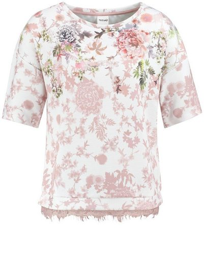Taifun T-Shirt Kurzarm Rundhals Struktur-Shirt mit Blumen-Print