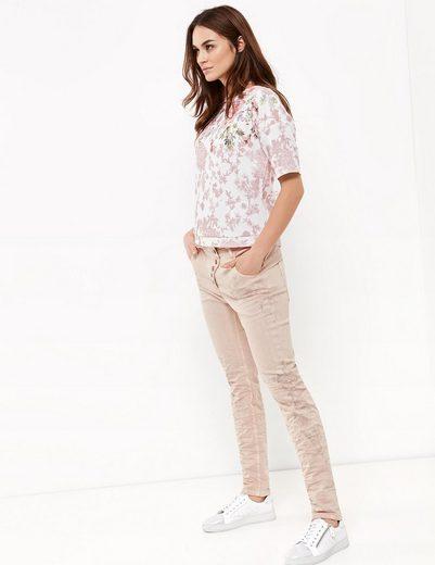 Taifun Hose Jeans lang Jeans mit Blumen-Print, Boyfriend TS