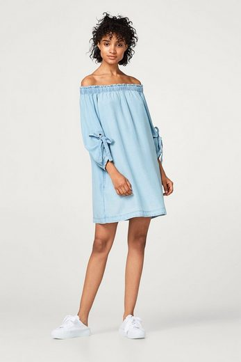 EDC BY ESPRIT Off-Shoulder-Kleid im Denim-Look