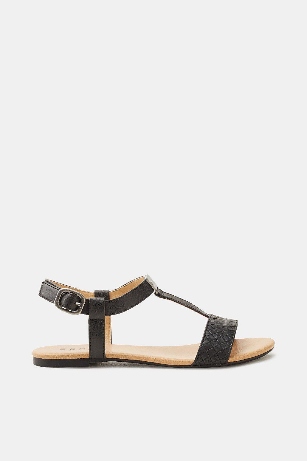 ESPRIT Flache Sandale in geflochtener Leder-Optik  BLACK