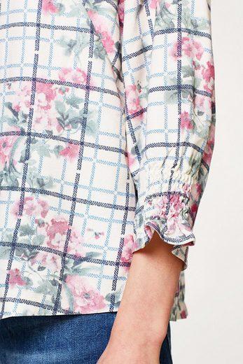ESPRIT Fließende Bluse mit Rosen-Karo-Print