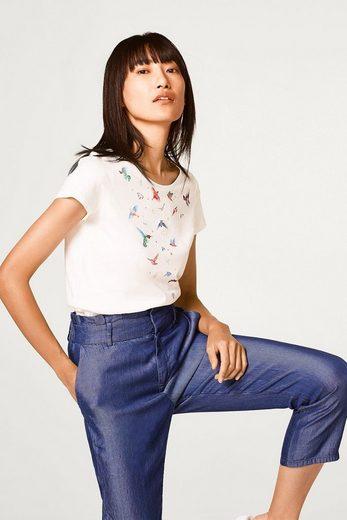 ESPRIT Baumwoll T-Shirt mit Vogel-Print
