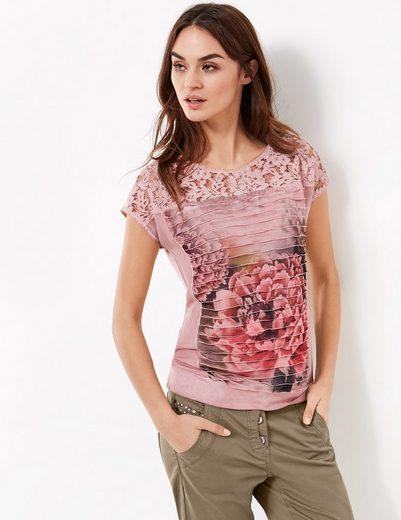 Taifun T-Shirt Kurzarm Rundhals Shirt mit Spitze und Rüschen